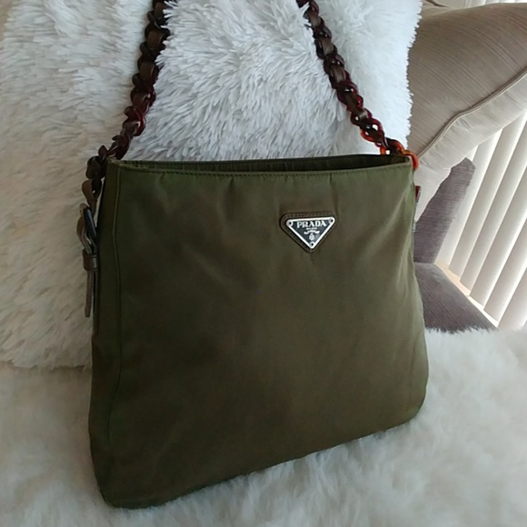 e5d04a02d3b7ed PRADA Iridescent Green/Brown Shopper tote bag. M_5c1bc1a00cb5aaa210f18738